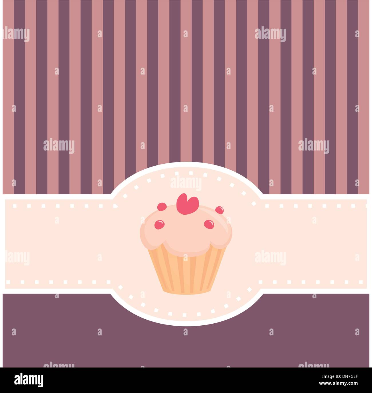 Vector wedding card restaurant menu or baby shower invitation with vector wedding card restaurant menu or baby shower invitation with sweet muffin cupcake heart and pink violet strips stopboris Images