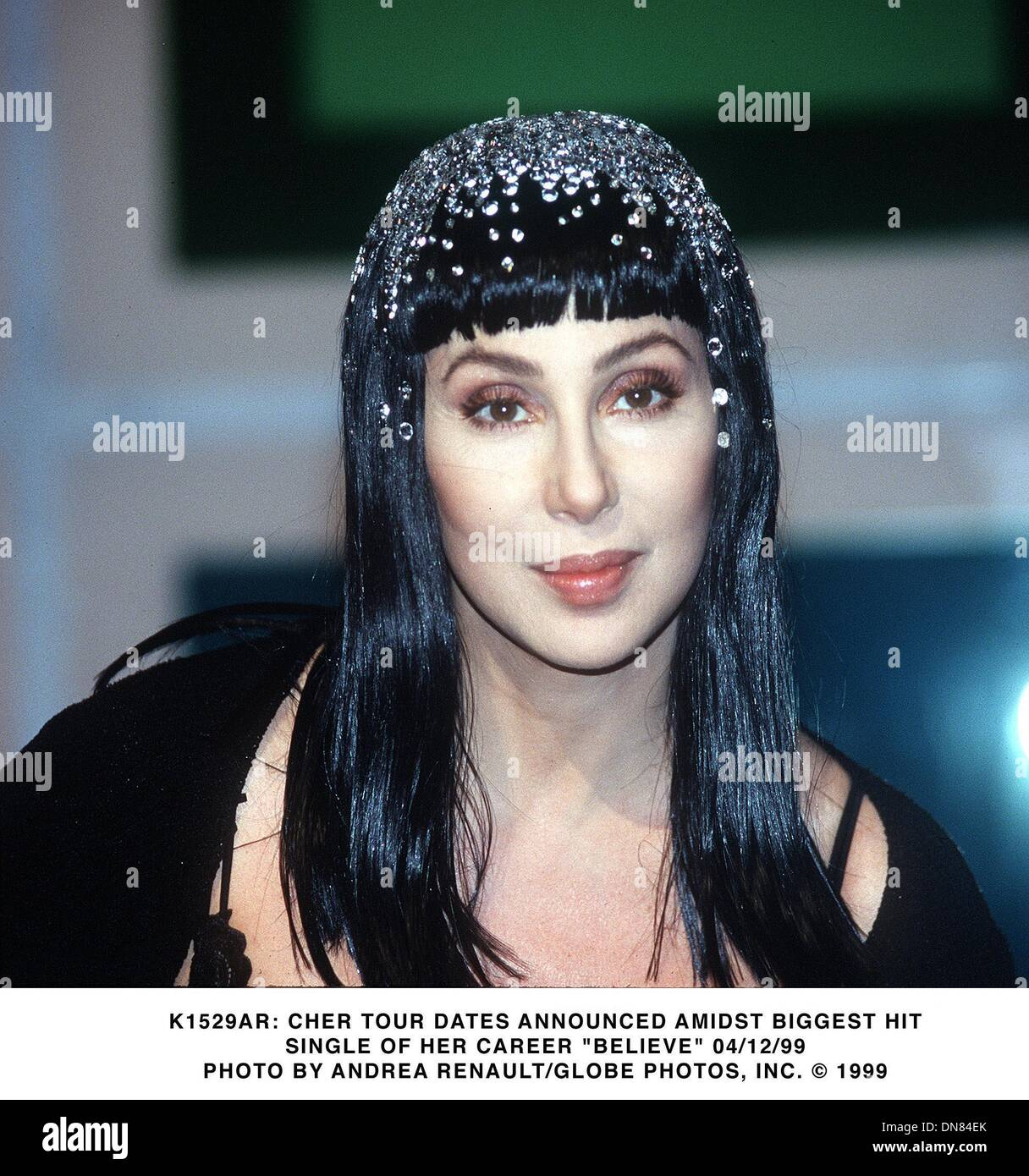 Apr. 12, 1999 - K1529AR     04/12/99.CHER TOUR DATES ANNOUNCED AMIDST BIGGEST HIT.SINGLE OF HER CAREER ''BELIEVE''. Stock Photo