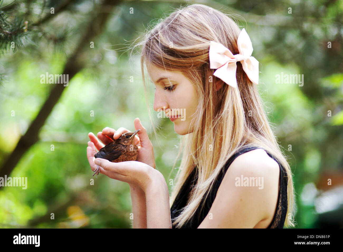 Girl with young Bird in the Hand - Stock Image