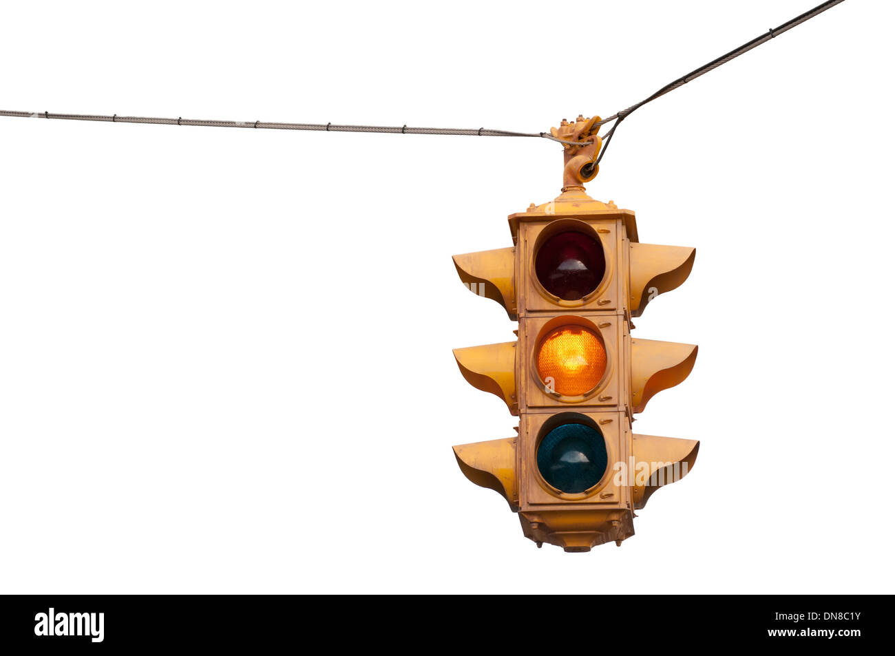 Vintage Traffic Light Flashing Yellow Caution Isolated On A White Background