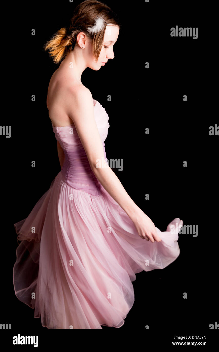 dancer, pink dress, young, girl, teenager, teen, play, grow, youth, joy - Stock Image