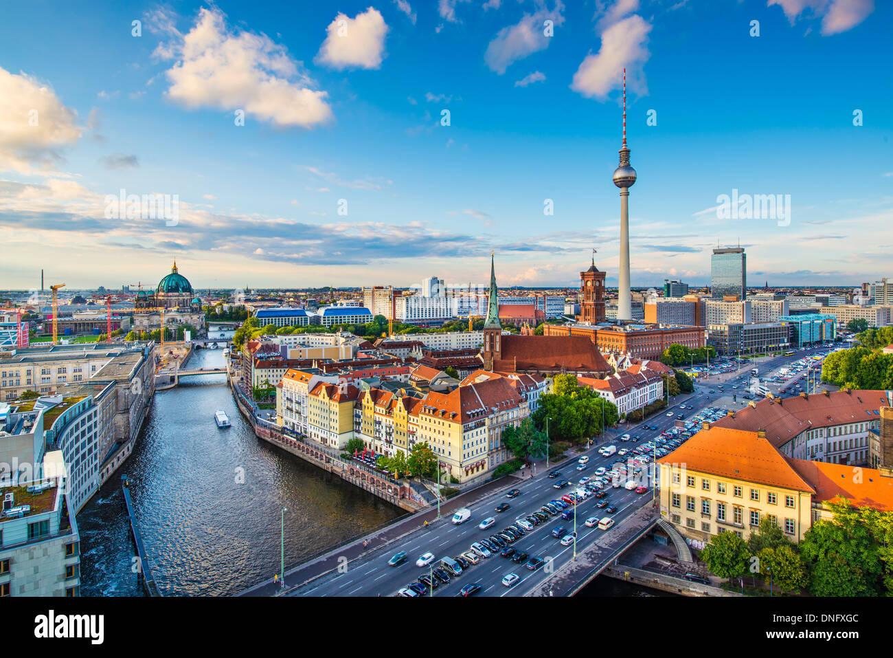 Berlin, Germany skyline over the Spree River. Stock Photo