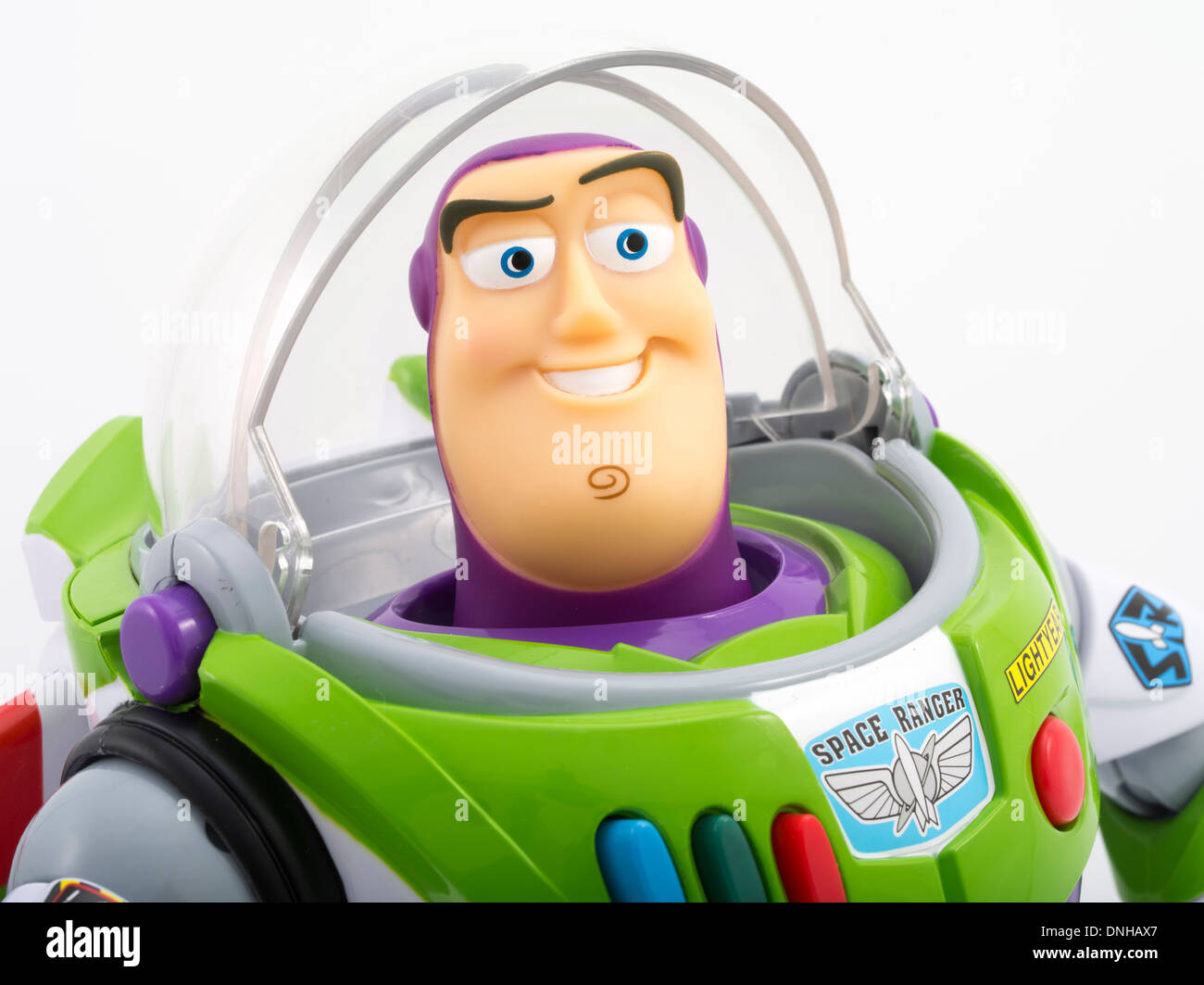 Buzz Lightyear iconic children's toy from movie Toy Story produced by Thinkway Toys - Stock Image