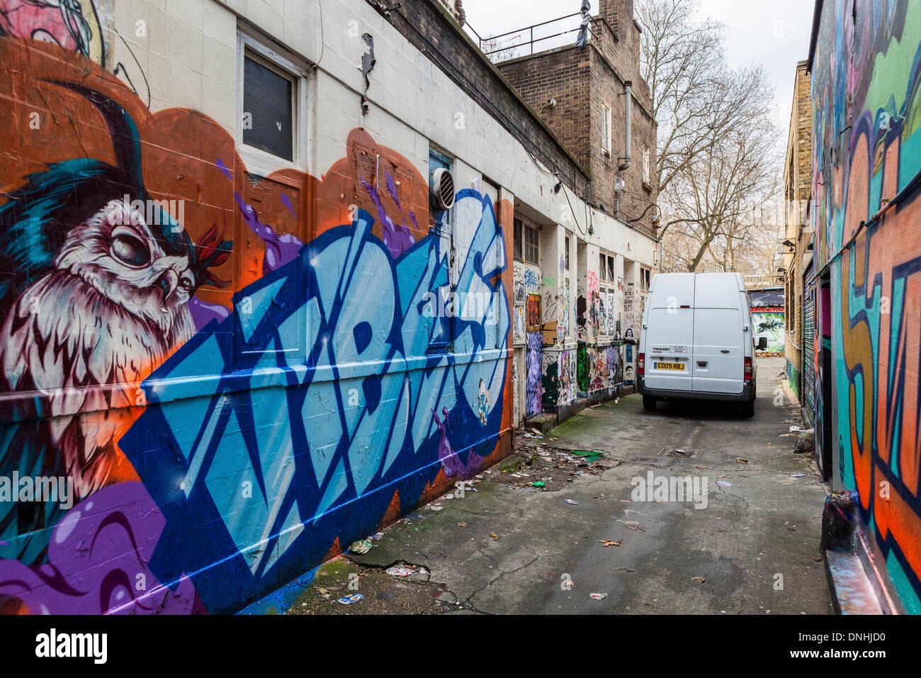 Alley Graffiti Tags Street Art Off Brick Lane London E1