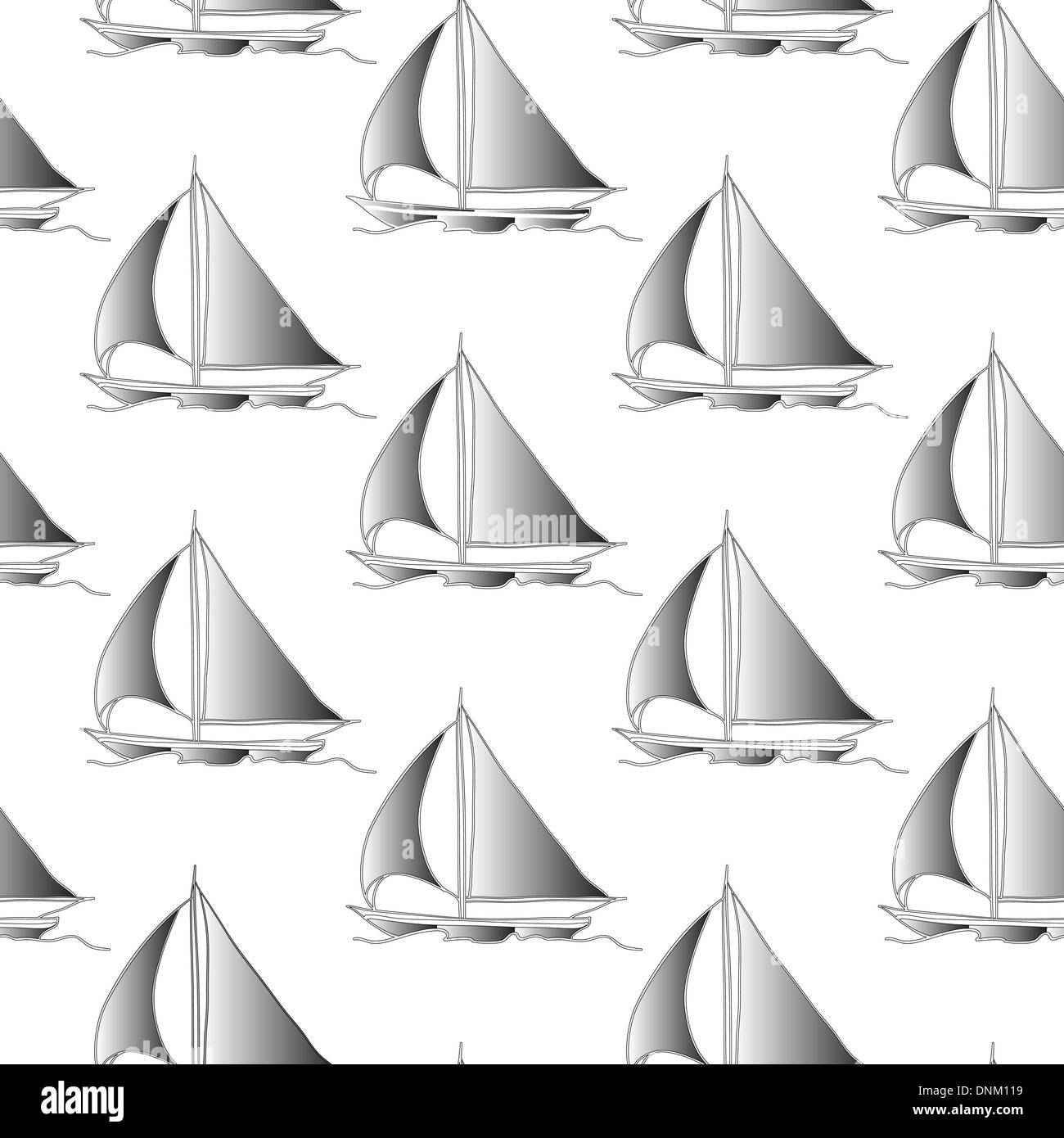 seamless wallpaper with a sailboat on the ocean waves - Stock Image