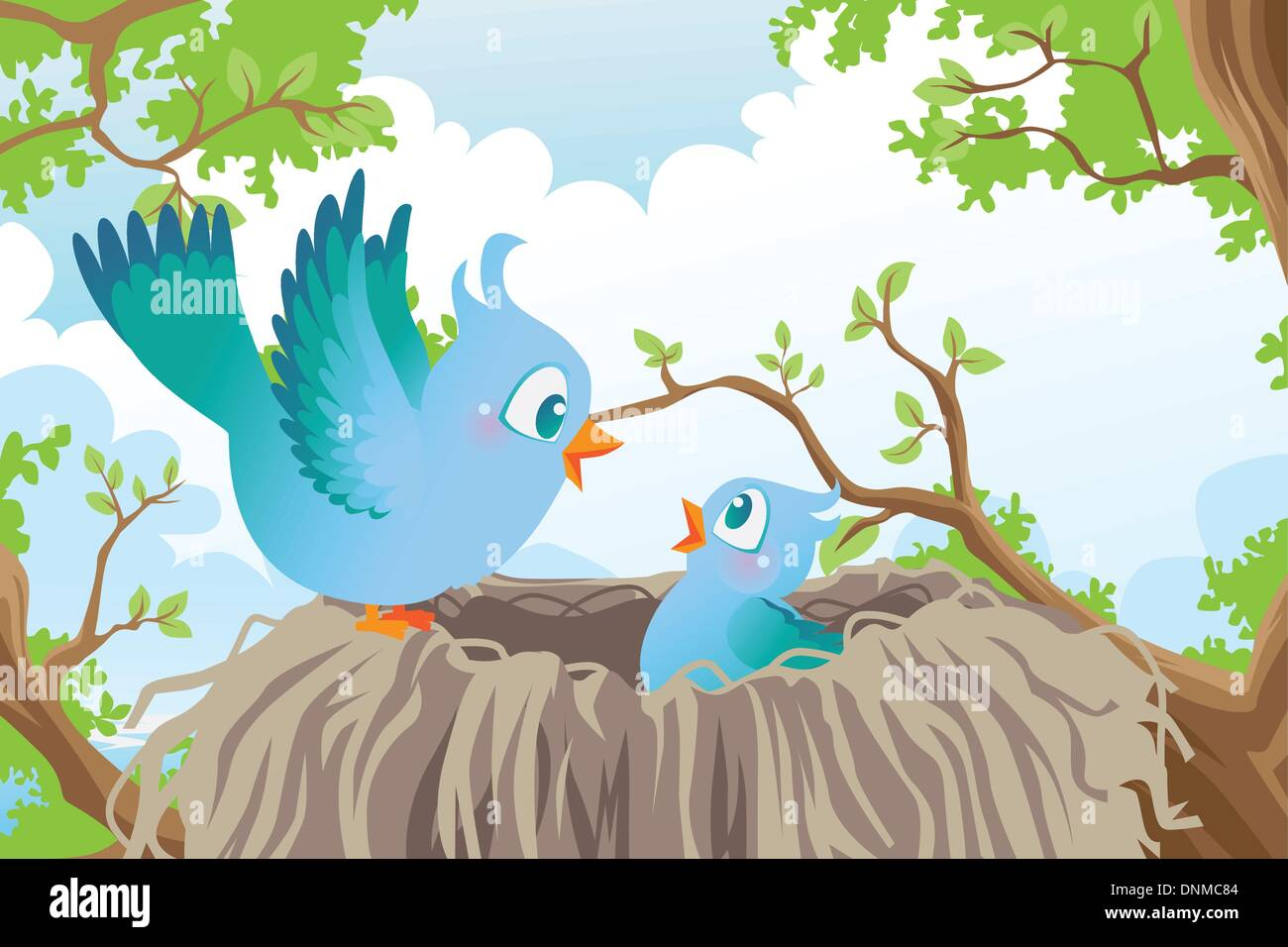 A vector illustration of birds in the nest Stock Vector