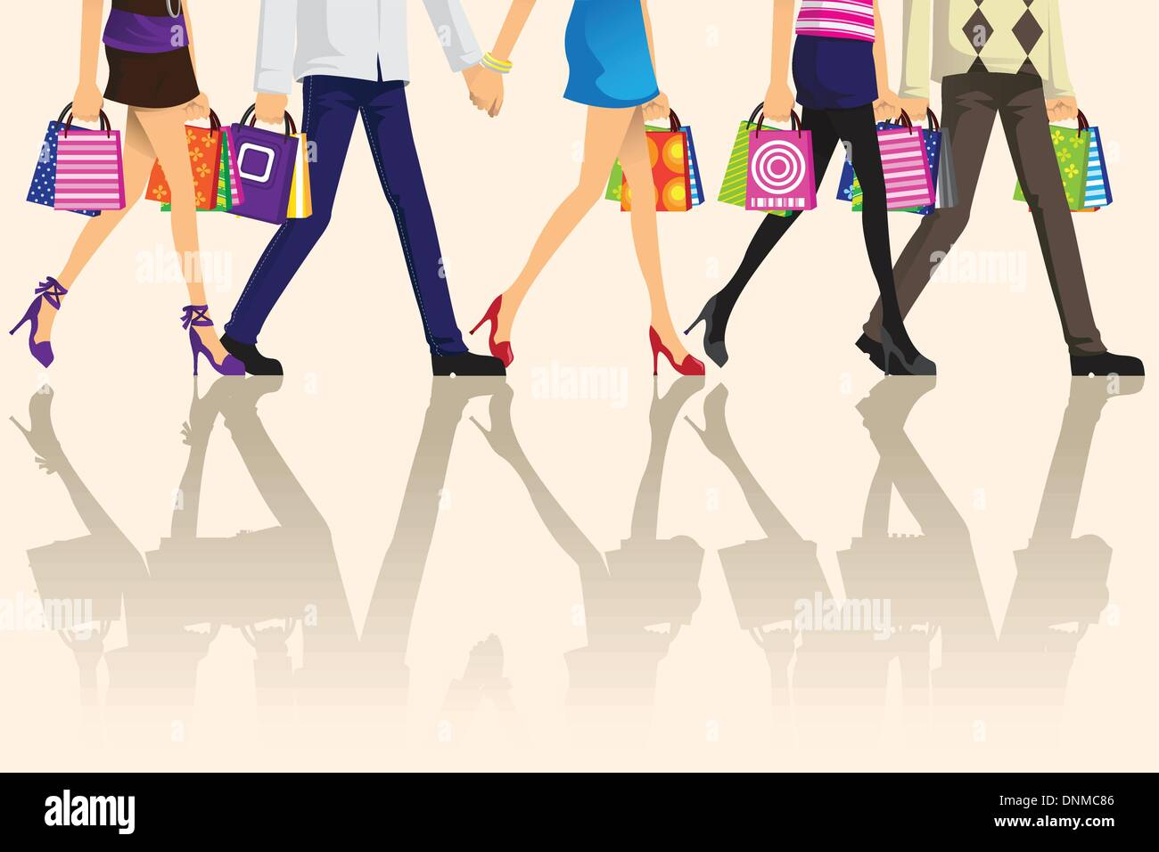 A vector illustration of shopping people carrying shopping bags - Stock Image