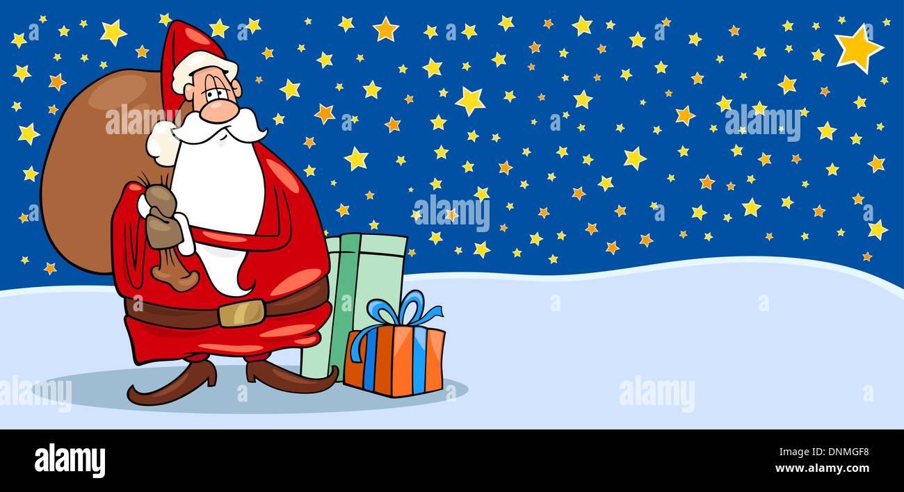 Greeting Card Cartoon Illustration Of Santa Claus Or Papa Noel Or