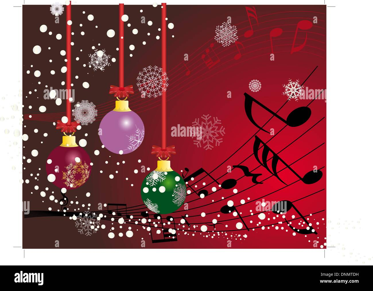 christmas new yeargreeting postcard with musical staff vector background