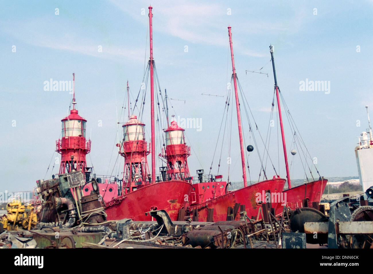 old lightships await their fate in the old john pounds scrapyard in portsmouth england during the early 1990s Stock Photo