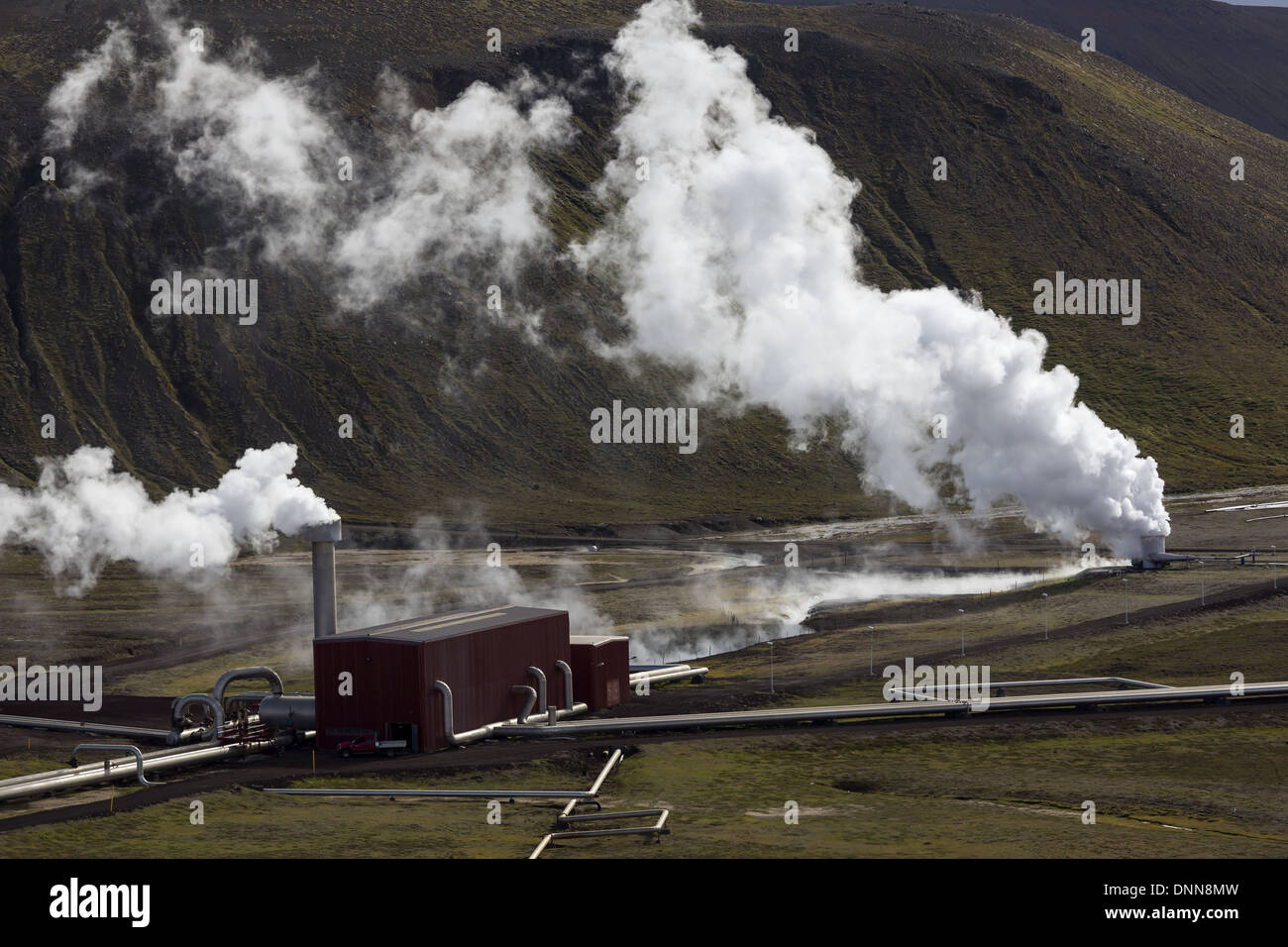 The Krafla Power Station is a 60 MW geothermal power station located near the Krafla Volcano in Iceland. - Stock Image