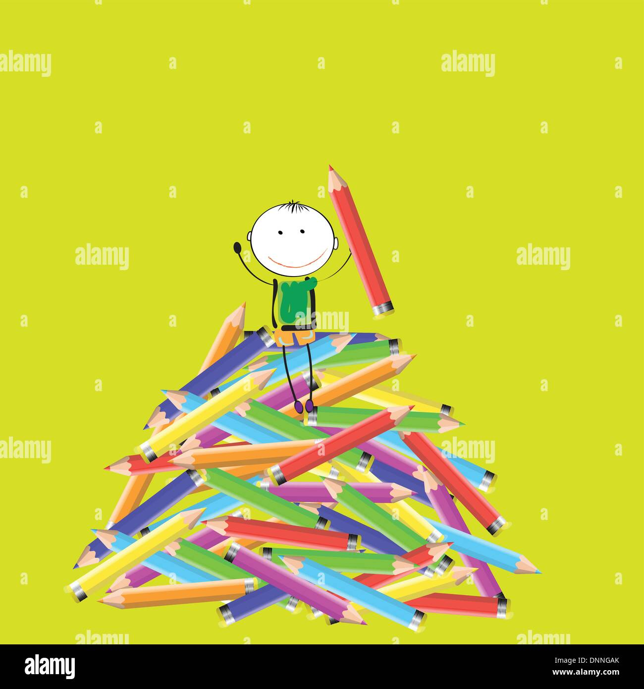 Happy colorful kids on many colorful crayon - Stock Image
