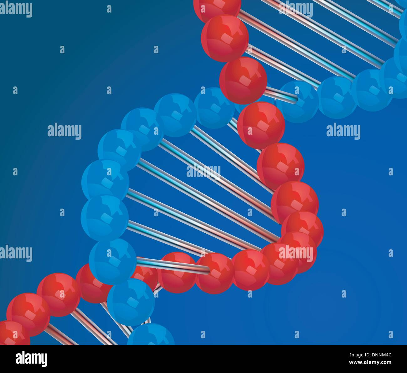 Dna 3d vector illustration on blue background - Stock Image