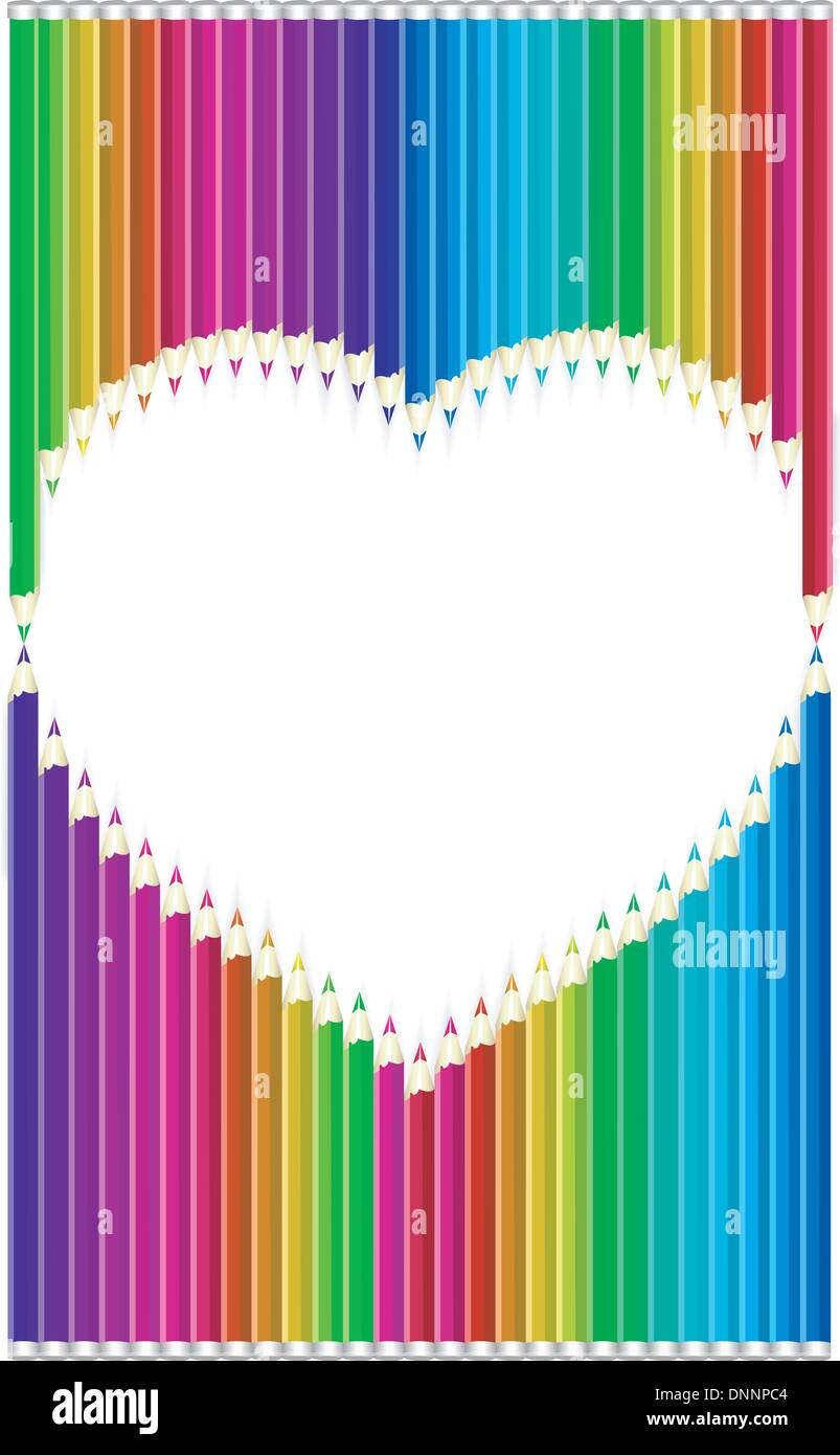 Color pencils heart shaped - Stock Image