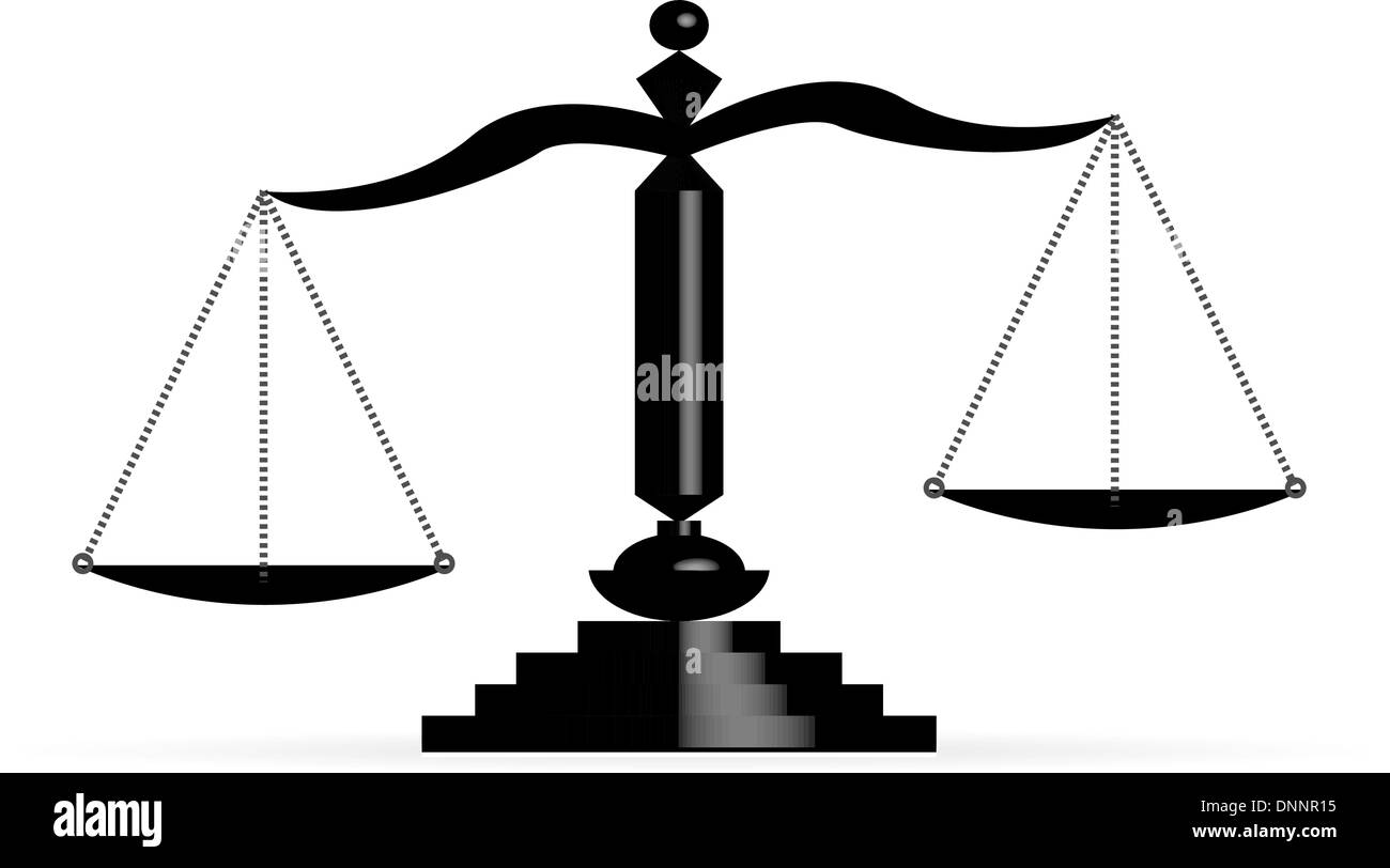 Vector illustration of justice scales - Stock Image