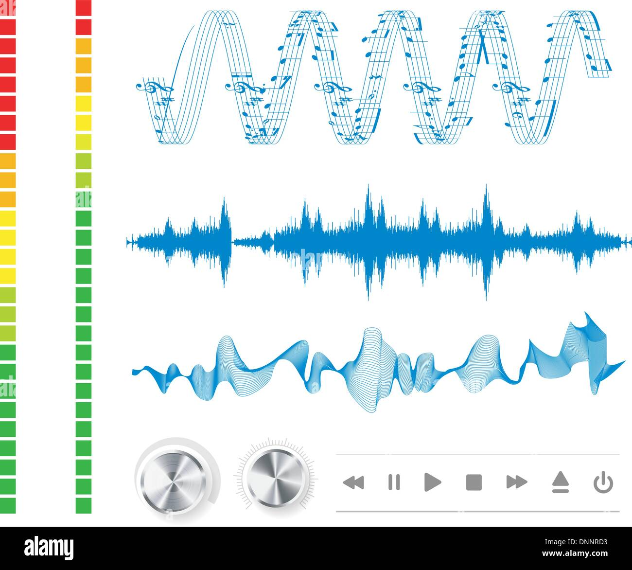 Notes, buttons and sound waves. Music background. - Stock Image