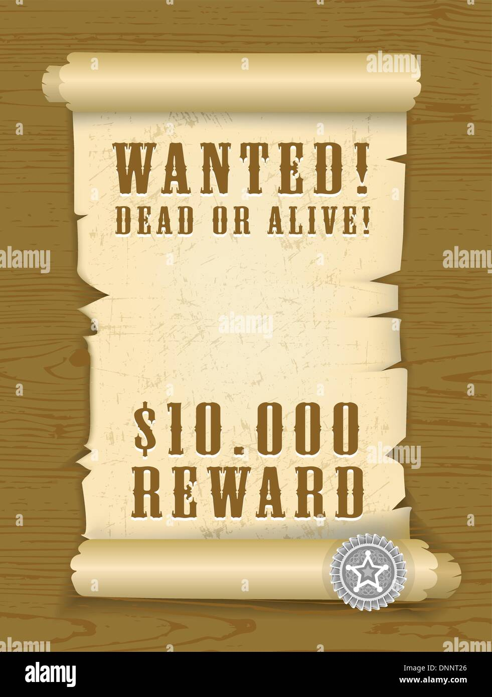 Vector Poster Wanted dead or alive on wood texture background. EPS v. 8.0 - Stock Image