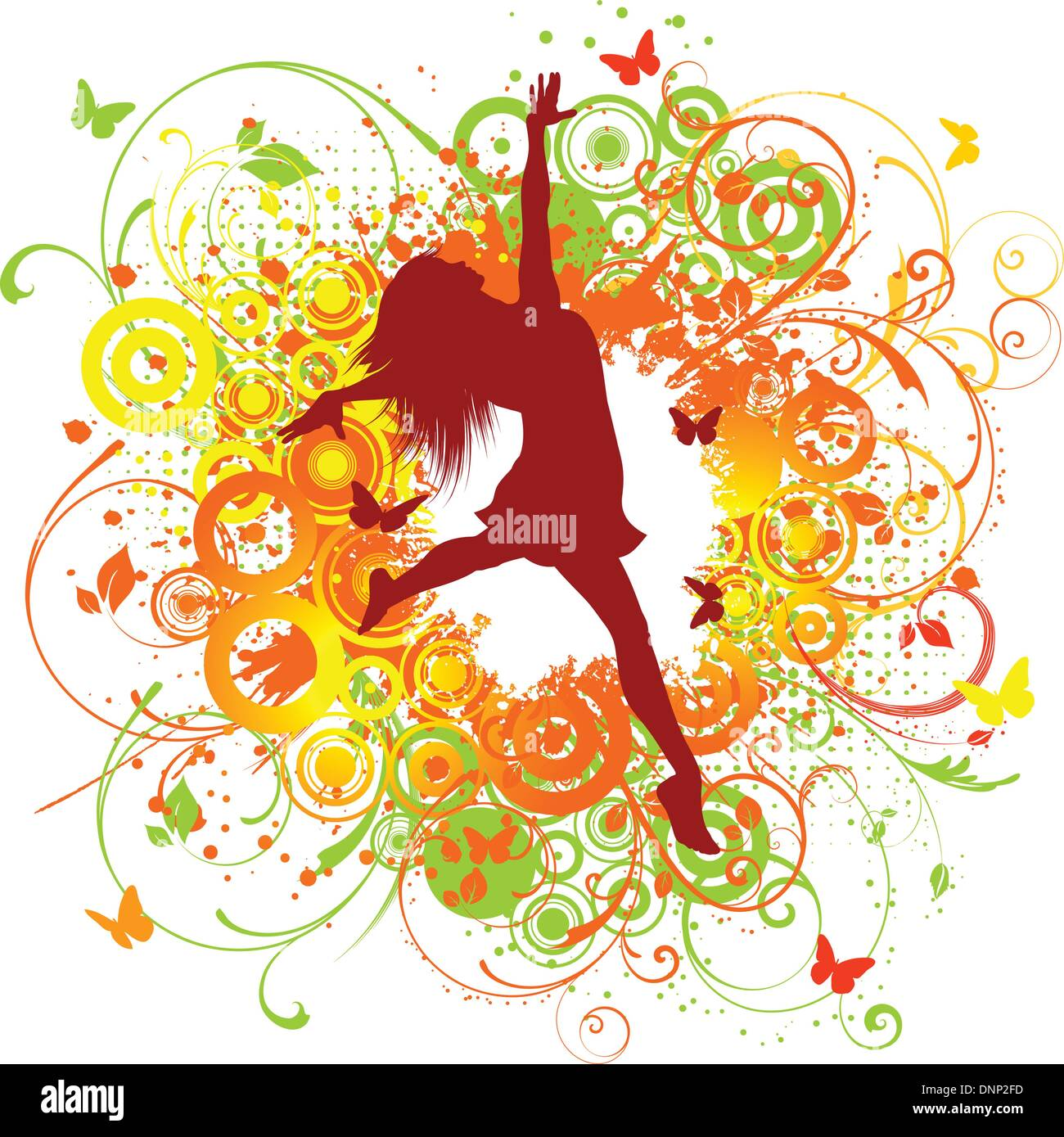 Silhouette of a happy female on a floral background - Stock Image