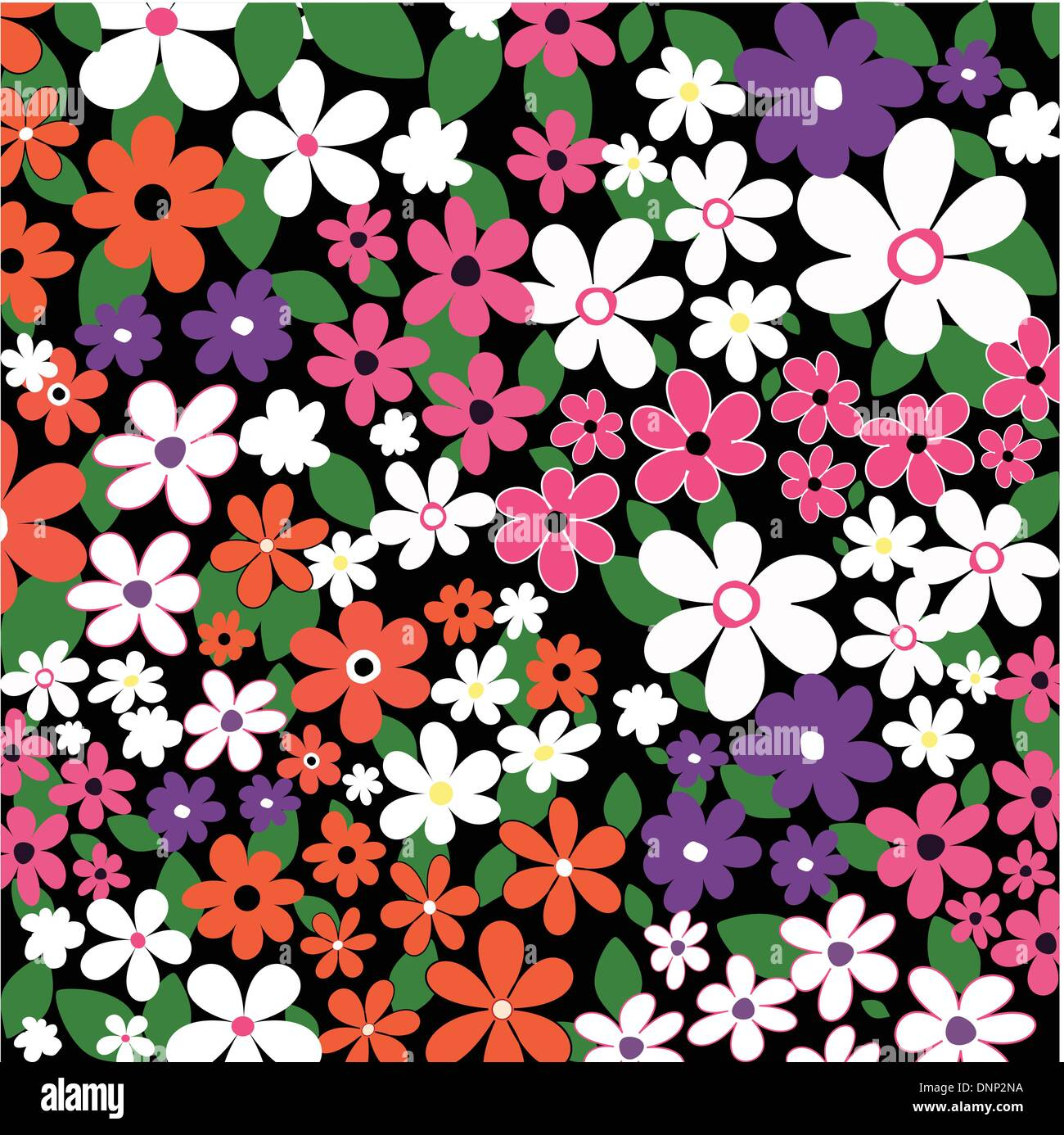 Background of many flowers - Stock Image