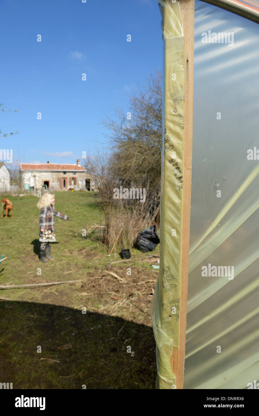 New plastic sheet being fitted to a polytunnel frame - Stock Image