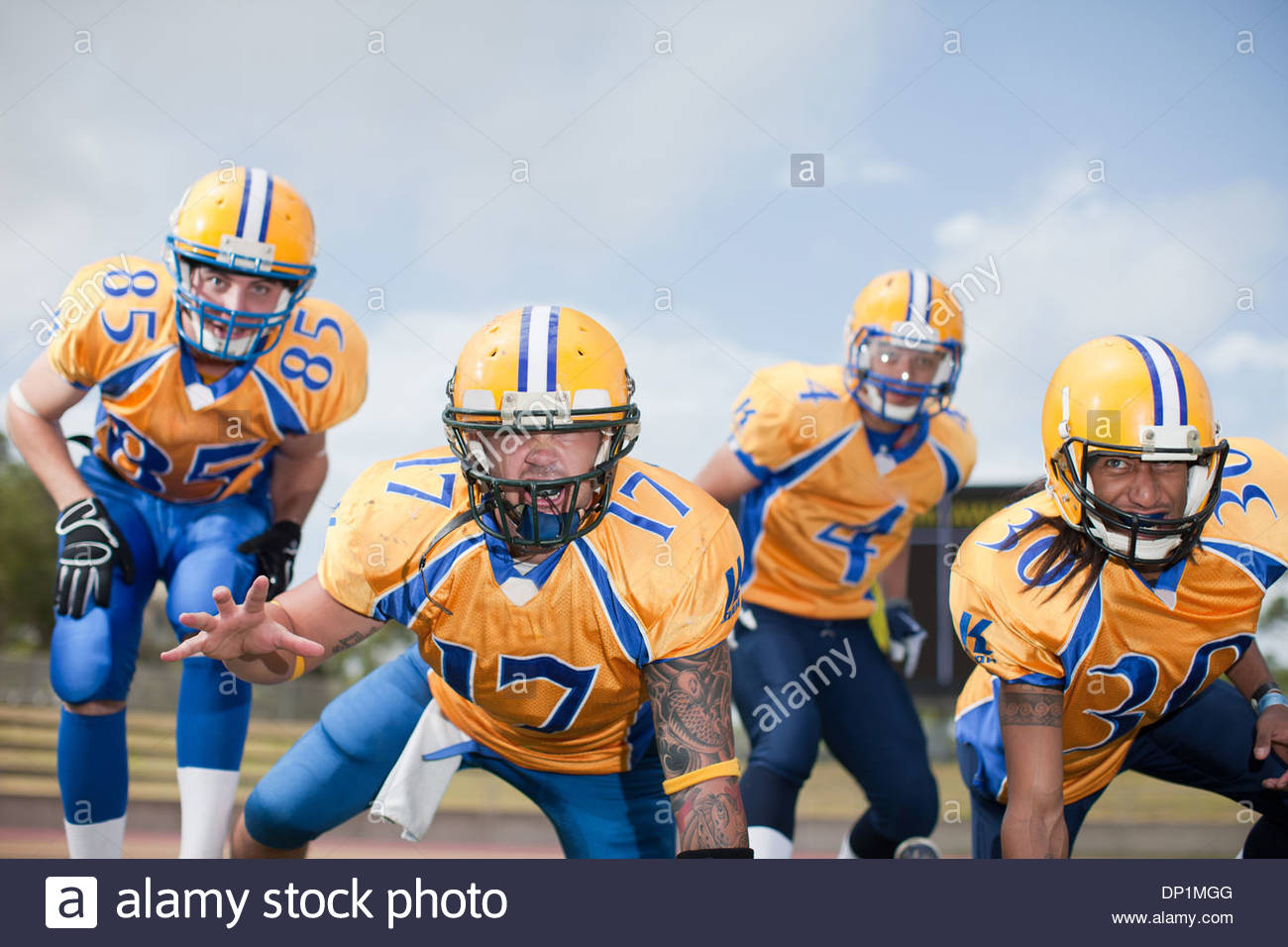 Intimidating football players - Stock Image