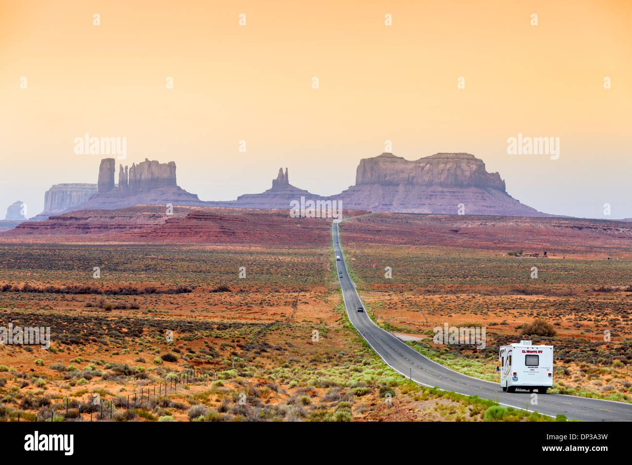USA Travel. Camper van (Motorhome) on US 163 looking south towards Monument Valley, Utah, United States of America. Stock Photo