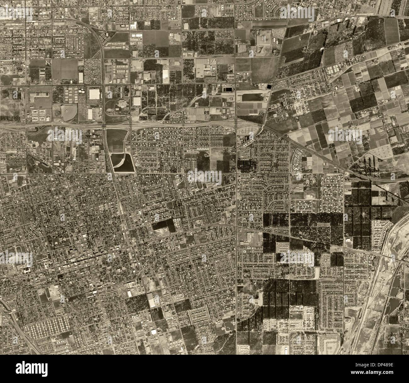 historical aerial photograph Anaheim, California, 1963 - Stock Image