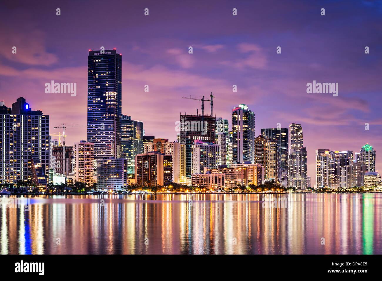 Skyline of Miami, Florida, USA over Biscayne Bay. - Stock Image