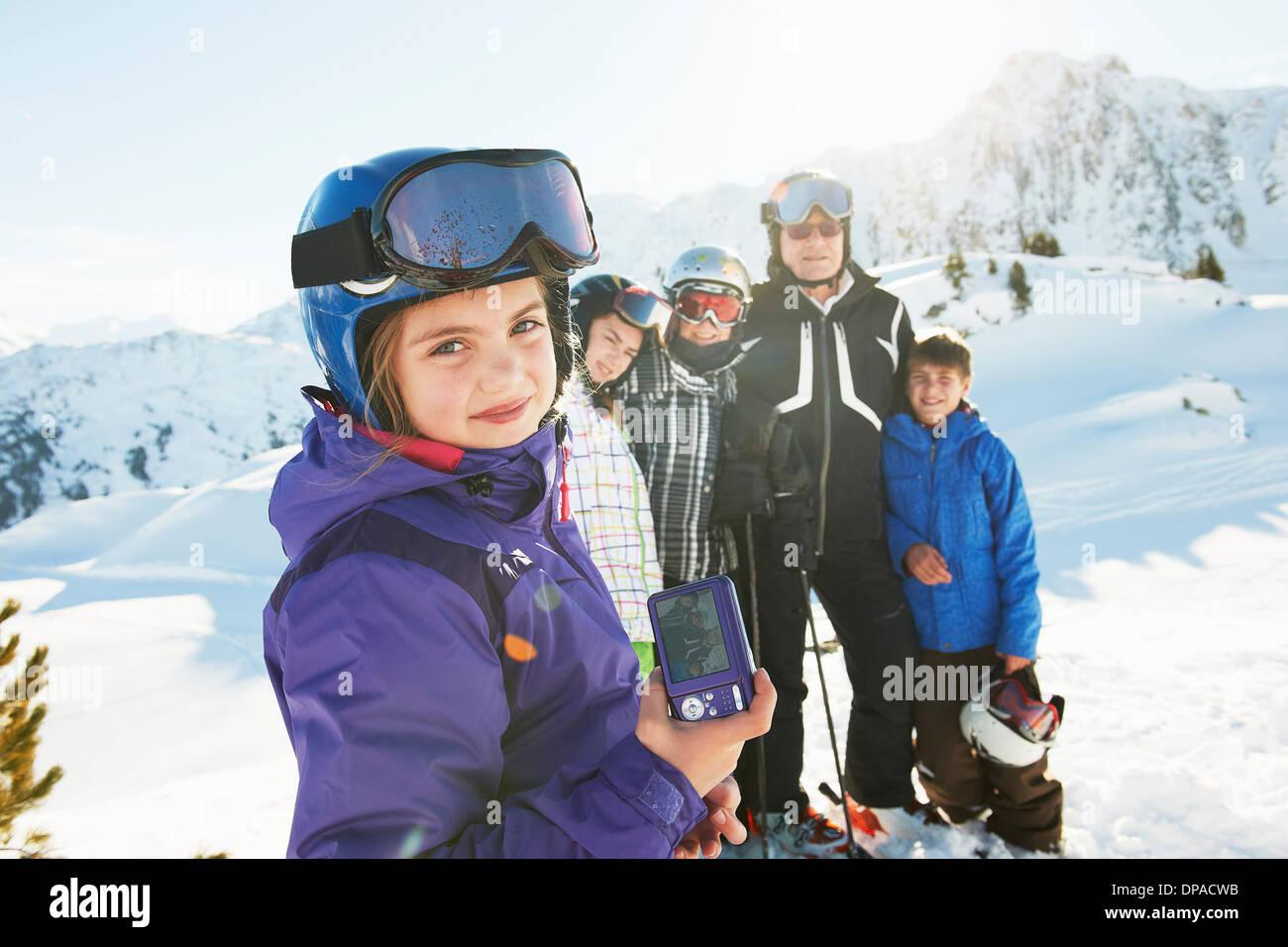Family of skiers, Les Arcs, Haute-Savoie, France - Stock Image