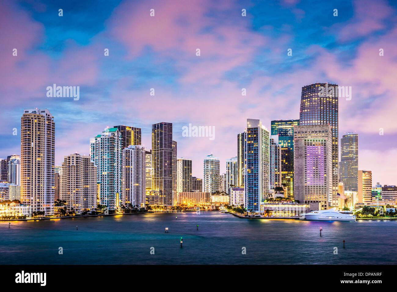Skyline of Miami, Florida, USA at Brickell Key and Miami River. - Stock Image