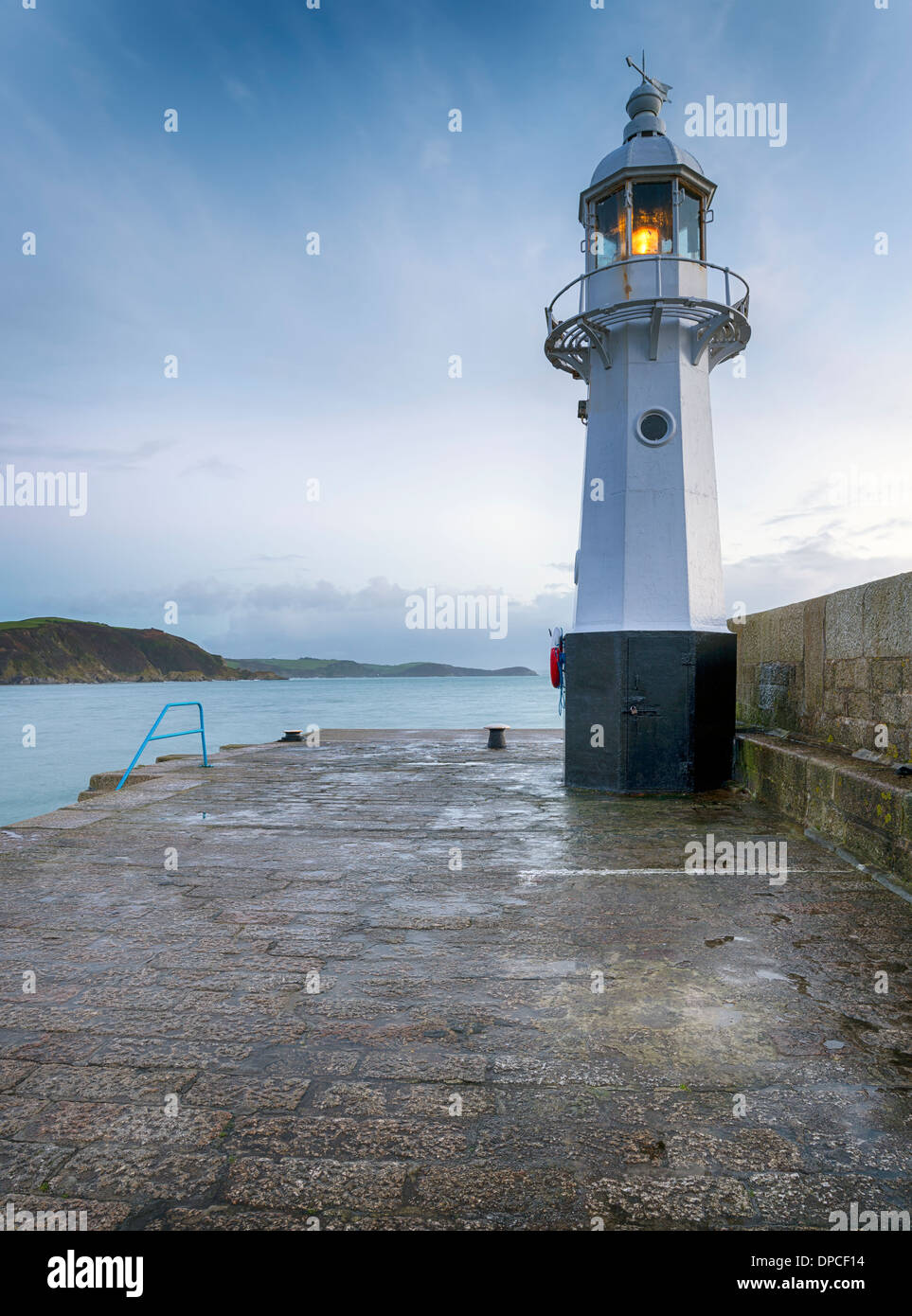The lighthouse at Mevagissey on the south coast of Cornwall - Stock Image