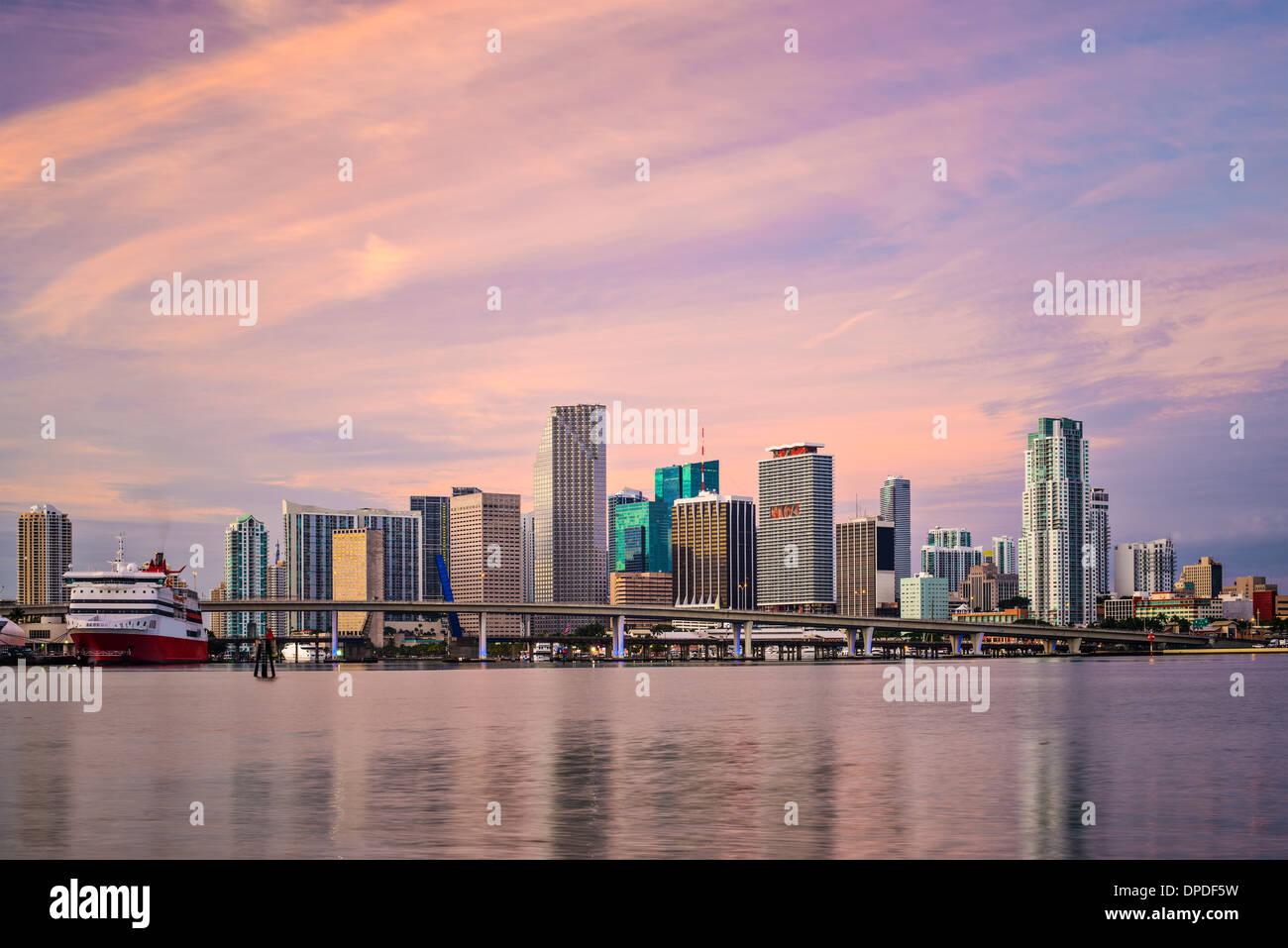 Miami, Florida, USA downtown skyline at dawn. - Stock Image