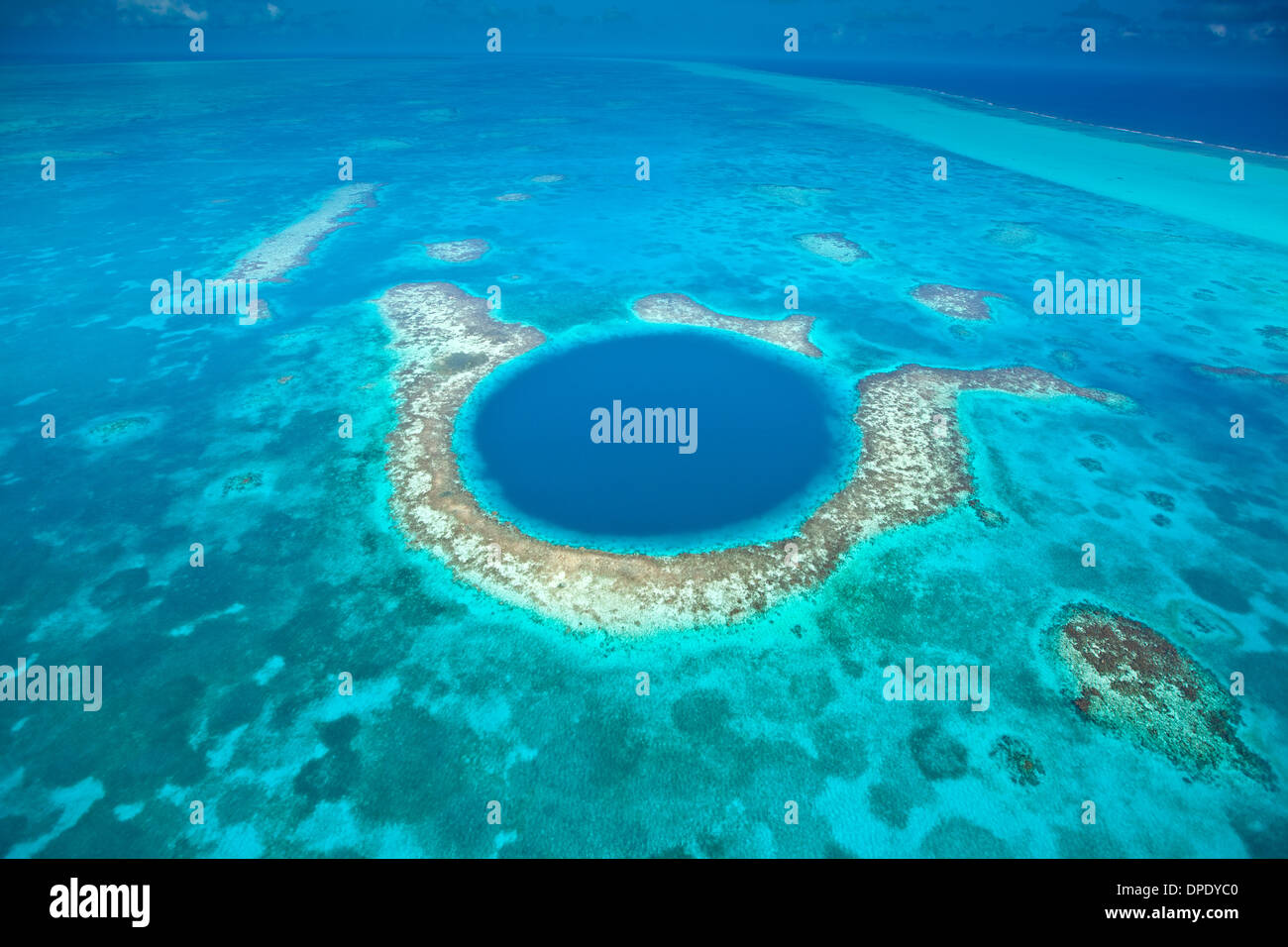 The Blue Hole Blue Hole National Monument, Belize Caribbean Sea Meso-American Reef Lighthouse Reef Atoll 400 foot - Stock Image