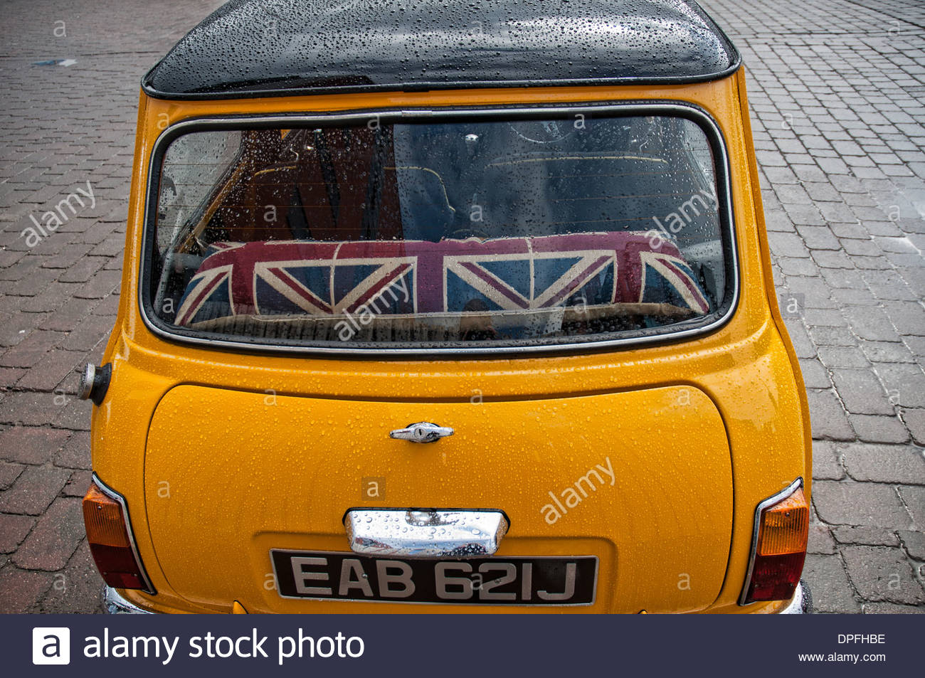 A back window of a mini car, Lincolnshire, England, UK - Stock Image
