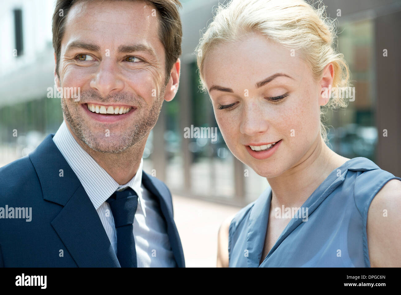 Real estate agent with potential buyer - Stock Image