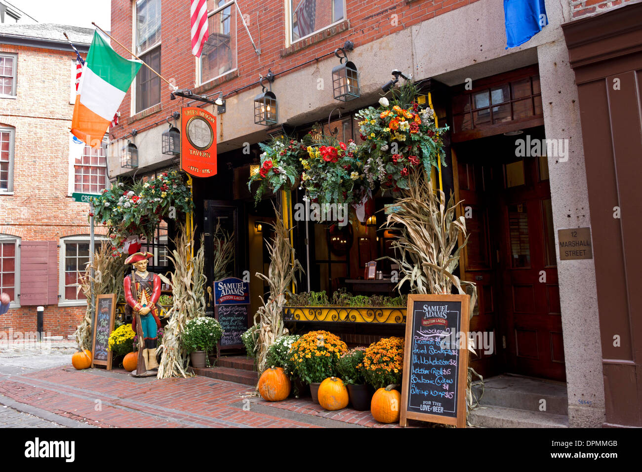 halloween decorations outside the pub in boston massachusetts where
