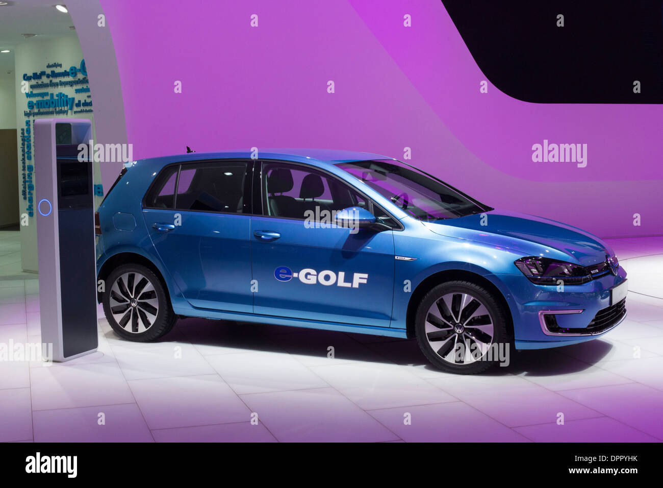 Detroit, Michigan - Volkswagen's e-Golf electric car on display at the North American International Auto Show. - Stock Image
