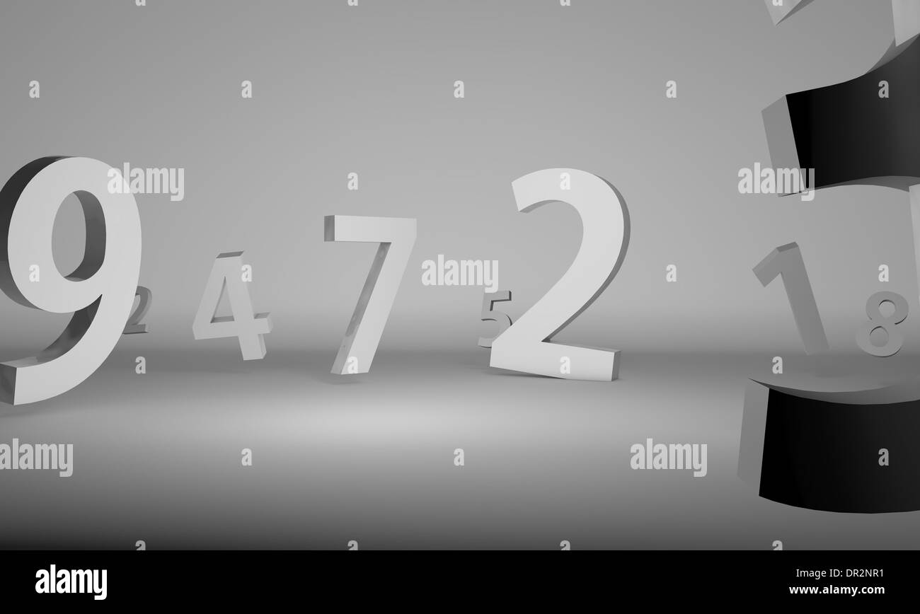 Numbers in chrome over pure white background - Stock Image