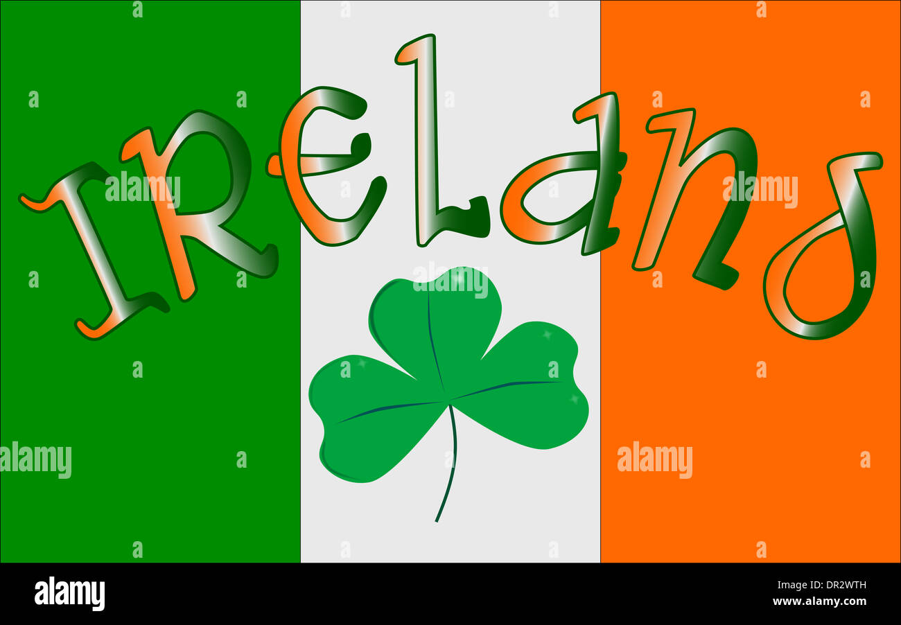 The Republic Of Ireland Flag With The Text Ireland And A Lucky Stock