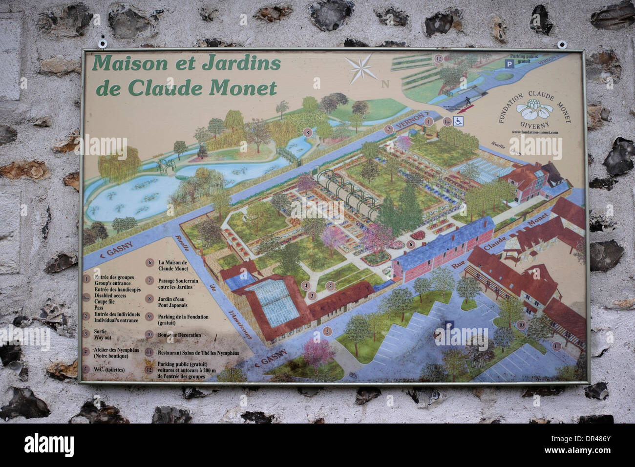 A Map Plan Of Monet S House And Garden Giverny Normandy France