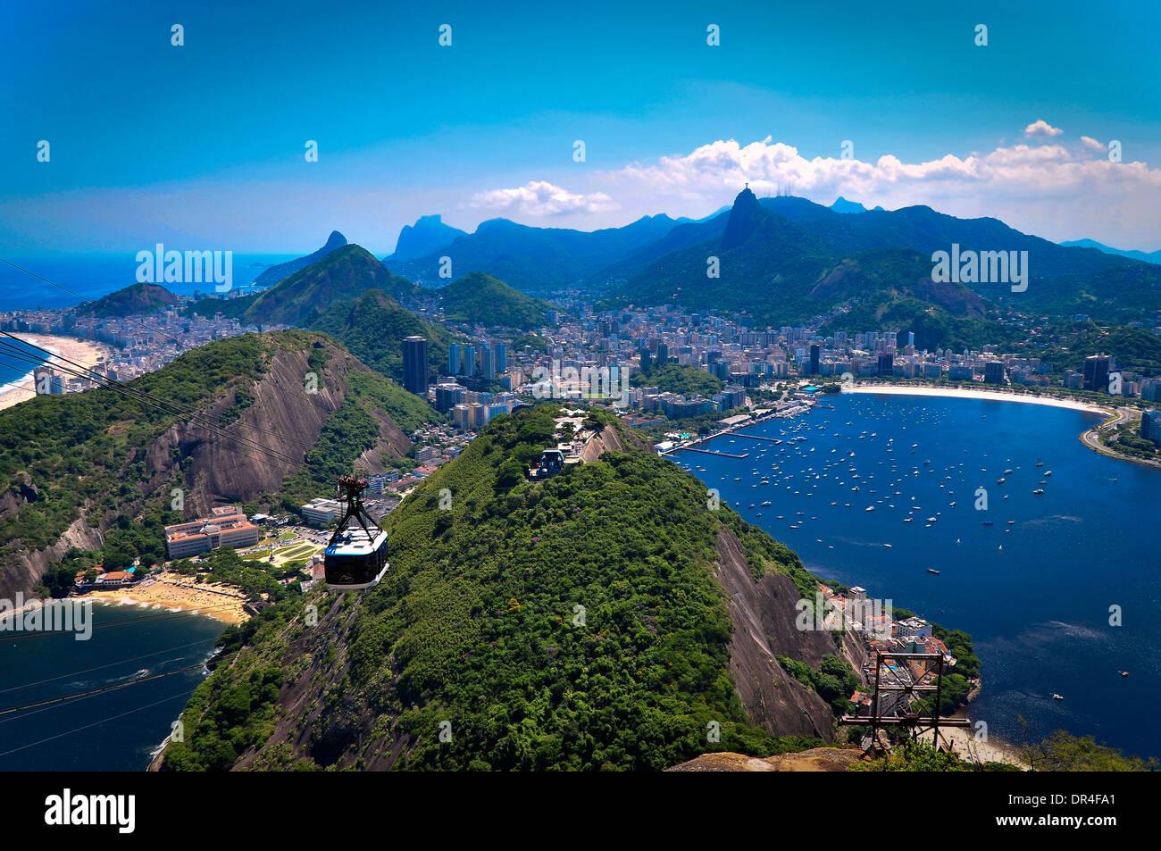 Ropeway in Rio de Janeiro, Brazil - Stock Image