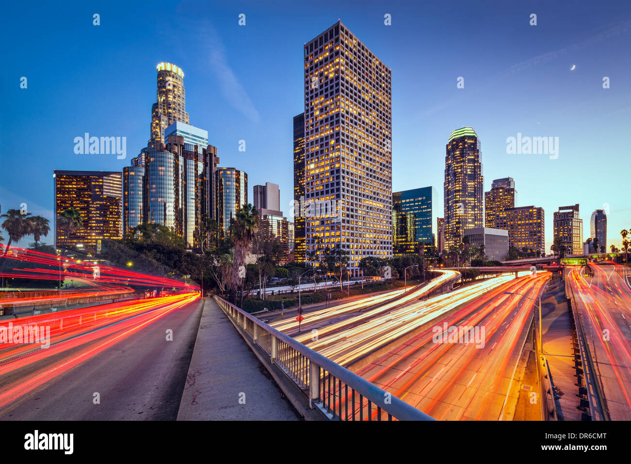 Los Angeles, California, USA downtown skyline at twilight. - Stock Image