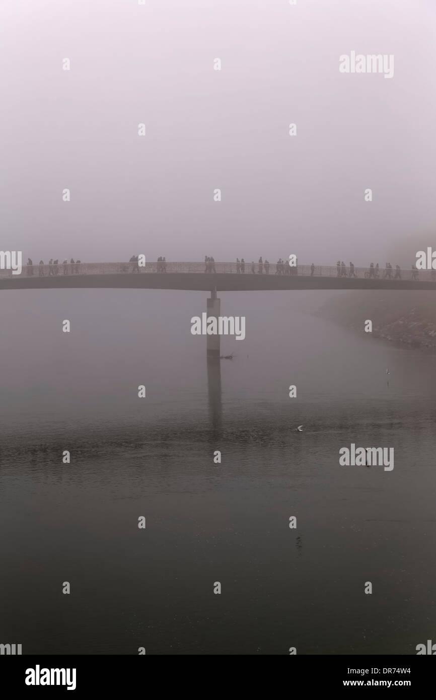 Austria, Salzburg State, Salzburg, Marktsteg in fog - Stock Image