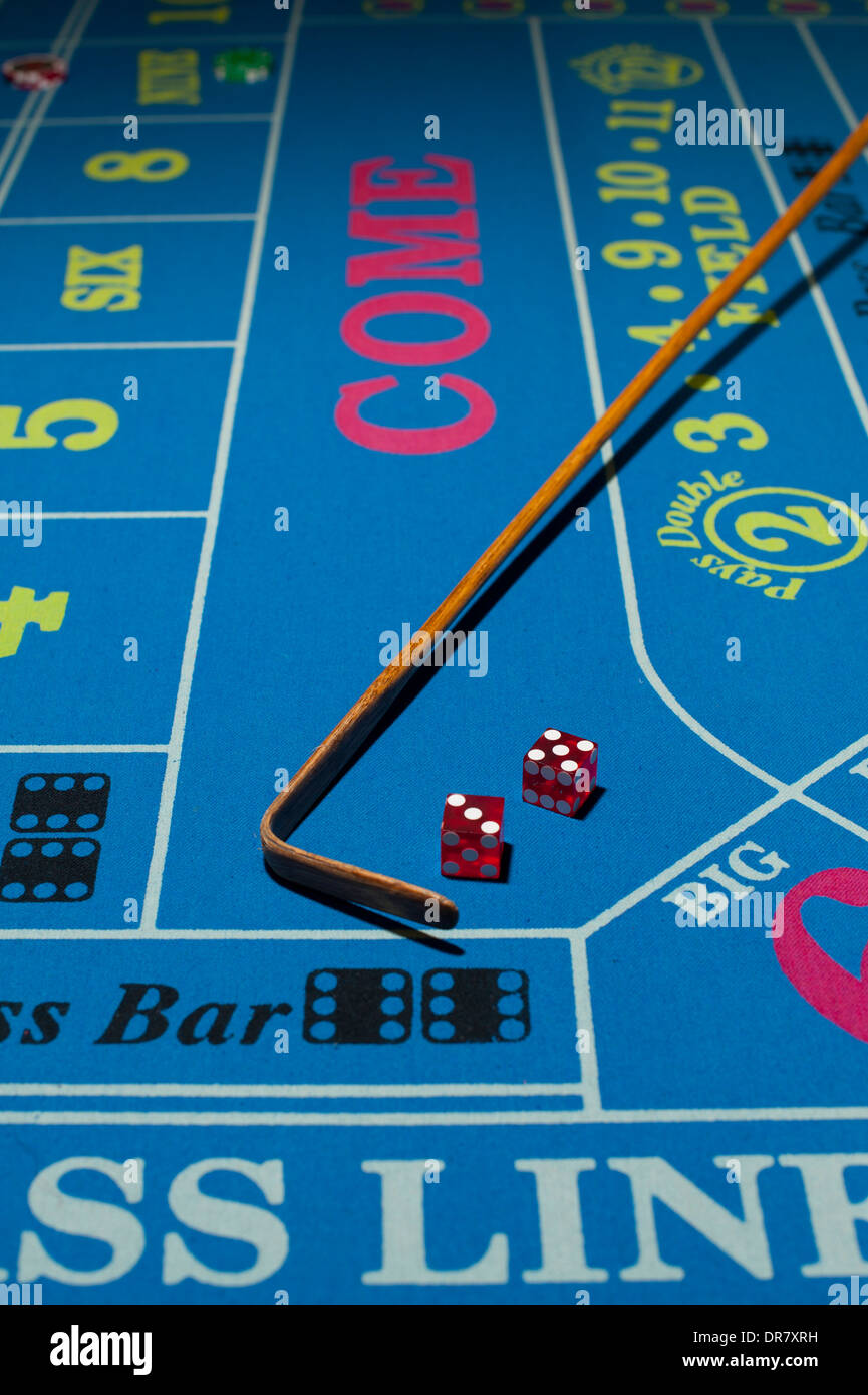 Casinos gambling gaming risk Mississippi MS Biloxi casino craps with dice on the table Stock Photo