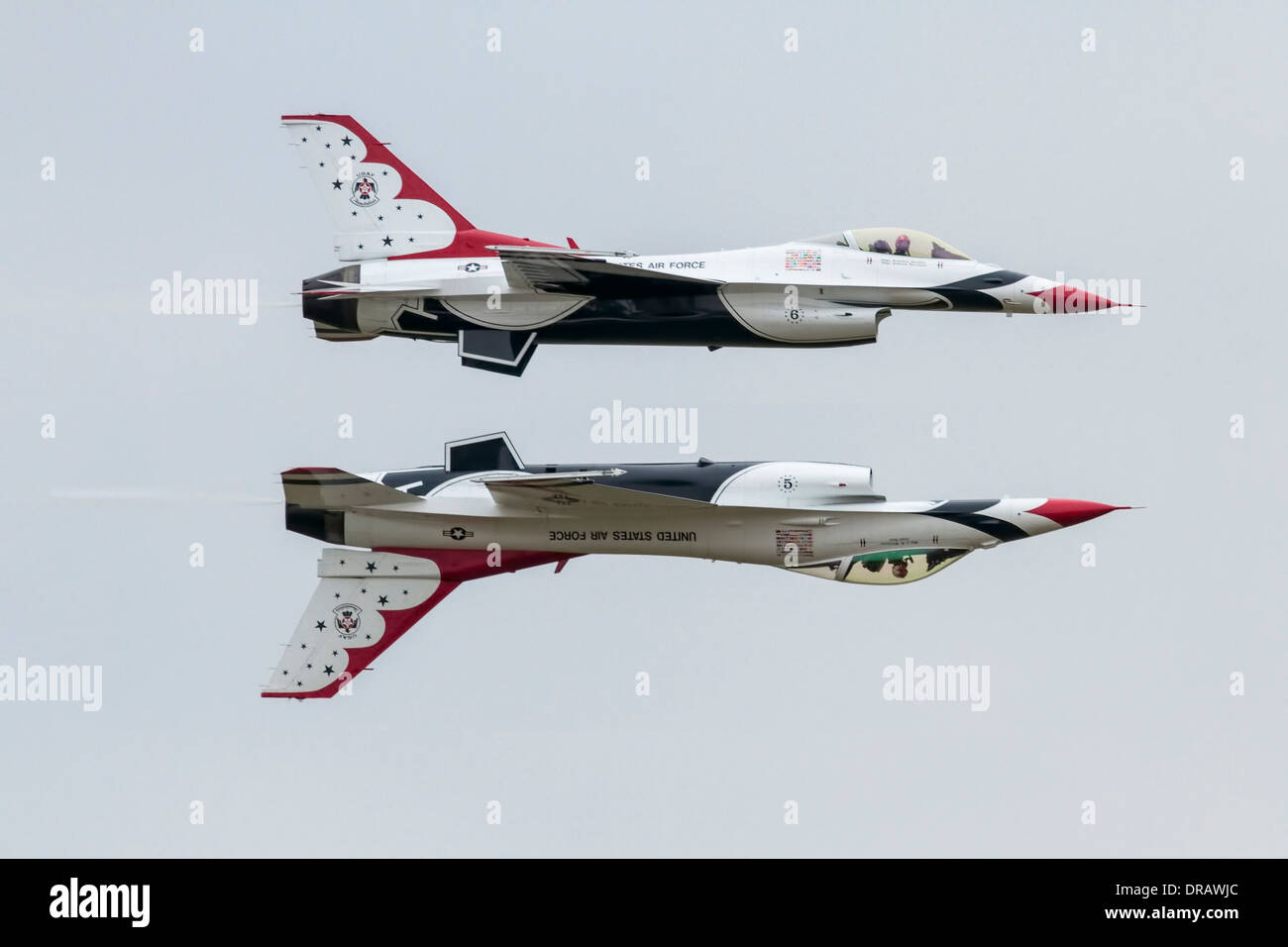 United States Air Force Thunderbrds - Reflection Pass - Stock Image