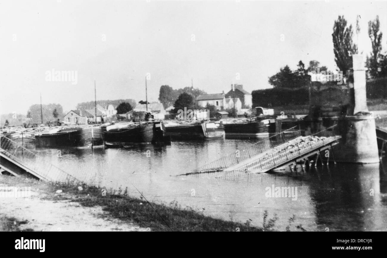 Destroyed Oise Bridge WWI - Stock Image
