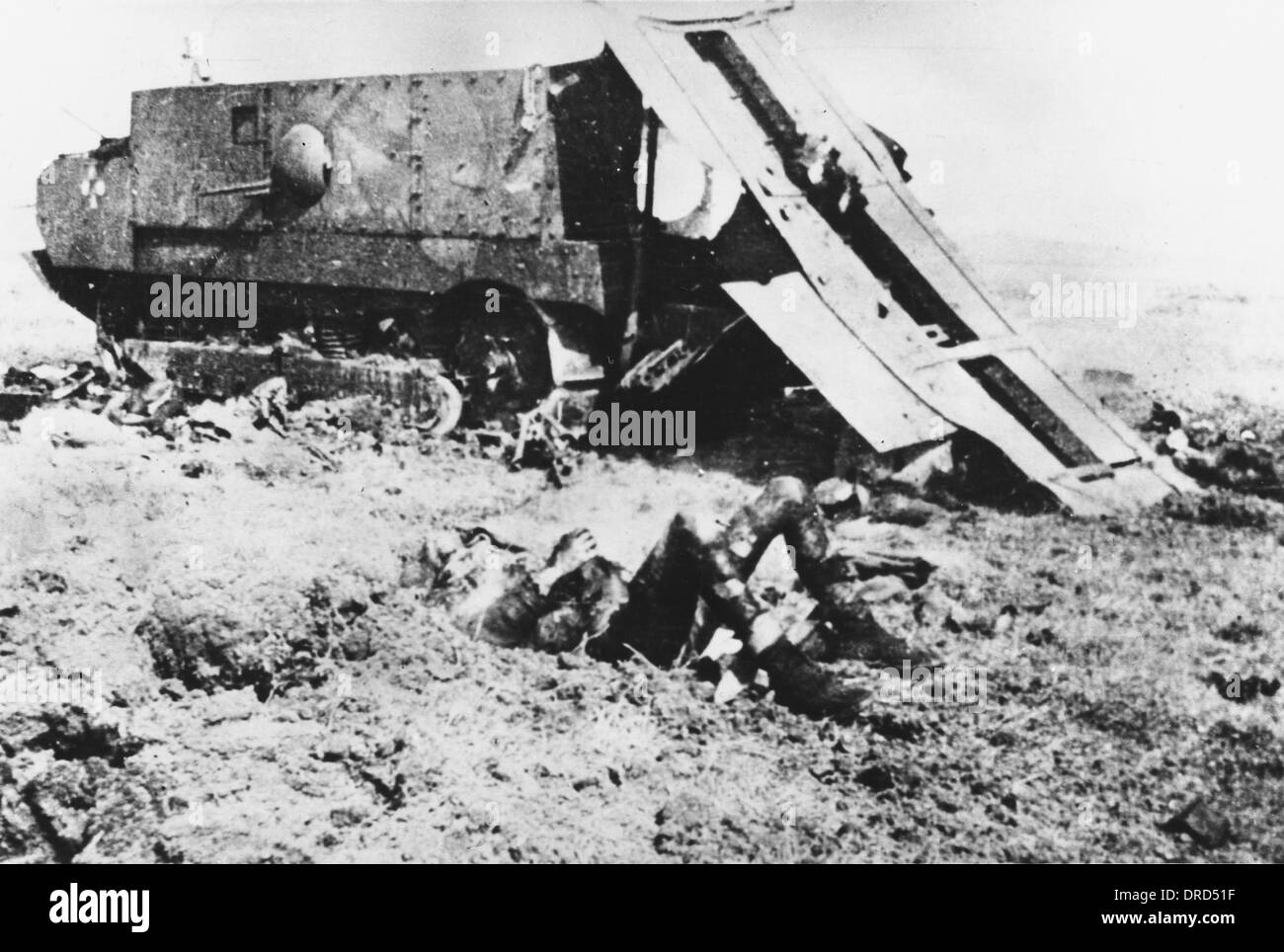 Destroyed French tank WWI - Stock Image