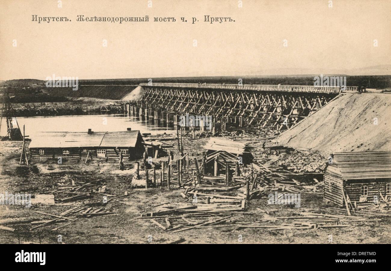 Trans-Siberian Railway - Bridge near Irkutsk - Stock Image