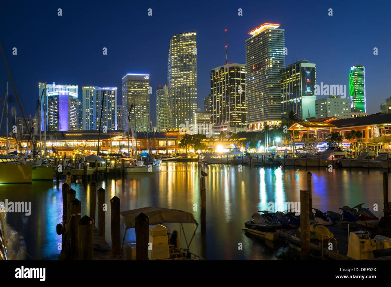 Miami Financial Skyline, Florida, USA - Stock Image
