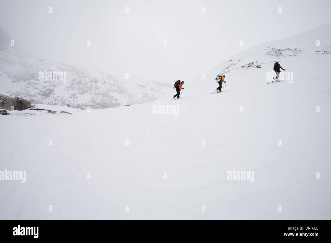 Alberta Canada. Three skiers ascending ridge mist cloud Canada - Stock Image